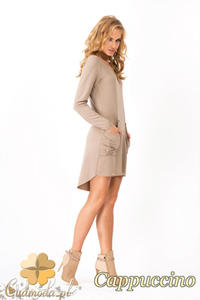 CM1352 Dresowa sukienka damska z kieszeniami - cappuccino - 2832074489