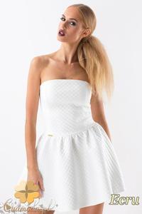 992f63a26a CM1356 Wieczorowa sukienka asymetryczna - ecru - 2832074498