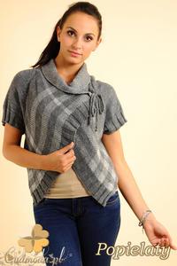 CM0136 Sweterek bolerko w kratę - popielaty - 2832069805