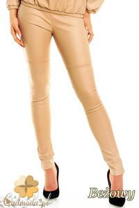 CM1372 Skórzane spodnie damskie rurki - beżowe