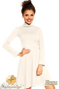 CM1376 Klasyczna sukienka damska z golfem i długim rękawem - ecru - 2832074586