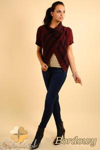CM0136 Sweterek bolerko w kratę - bordowy - 2832069806