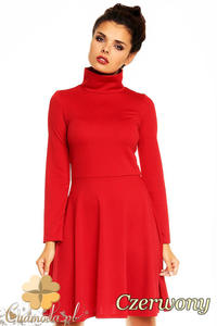 CM1376 Klasyczna sukienka damska z golfem i długim rękawem - czerwona - 2832074587