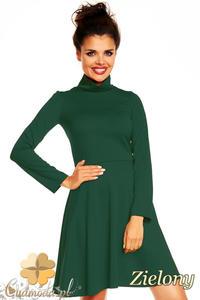 CM1376 Klasyczna sukienka damska z golfem i długim rękawem - zielona - 2832074588