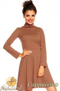 CM1376 Klasyczna sukienka damska z golfem i długim rękawem - cappuccino - 2832074589