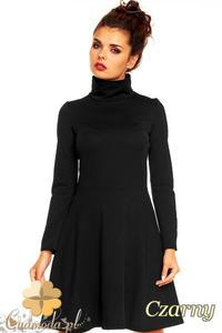 CM1376 Klasyczna sukienka damska z golfem i długim rękawem - czarna - 2832074590