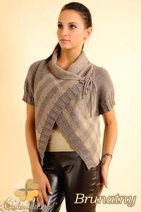 CM0136 Sweterek bolerko w kratę - brunatny - 2832069807