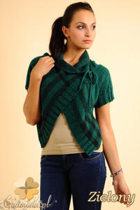 CM0136 Sweterek bolerko w kratę - zielony - 2832069808
