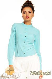 7fa7d1a631fd5d CM1381 Damska koszula na stójce na napy - niebieska - 2832074610