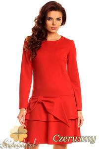 CM1387 Modna sukienka damska z kokardą i falbaną - czerwona - 2832074635