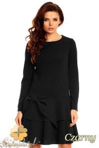 CM1387 Modna sukienka damska z kokardą i falbaną - czarna - 2832074637