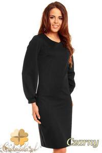 CM1395 Prosta, klasyczna sukienka damska z rękawem kimono - czarna - 2832074660