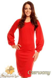 CM1395 Prosta, klasyczna sukienka damska z rękawem kimono - czerwona - 2832074662