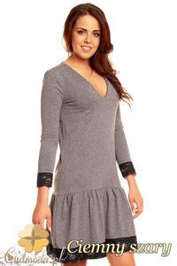CM1398 Rozkloszowana sukienka damska z koronką na dole i przy rękawach - ciemna szara - 2832074668