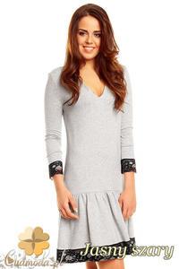 CM1398 Rozkloszowana sukienka damska z koronką na dole i przy rękawach - jasna szara - 2832074669