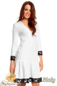 CM1398 Rozkloszowana sukienka damska z koronką na dole i przy rękawach - biała - 2832074670