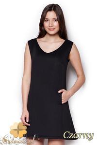 CM1404 Klasyczna sukienka przed kolano lekko rozkloszowana - czarna - 2832074685