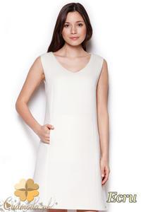 CM1404 Klasyczna sukienka przed kolano lekko rozkloszowana - ecru - 2832074686