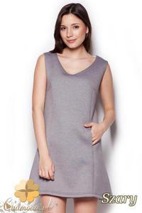 CM1404 Klasyczna sukienka przed kolano lekko rozkloszowana - szara - 2832074687