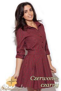 CM1411 Klasyczna koszula damska w kratę - czerwono-czarna - 2832074702