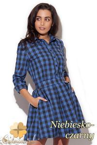 CM1411 Klasyczna koszula damska w kratę - niebiesko-czarna - 2832074703