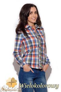 CM1411 Klasyczna koszula damska w kratę - wielokolorowa - 2832074704