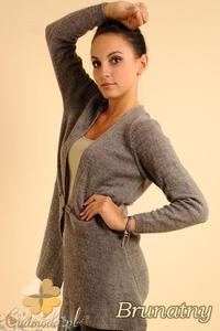 CM0139 Długi sweter sweterek narzutka - brunatny
