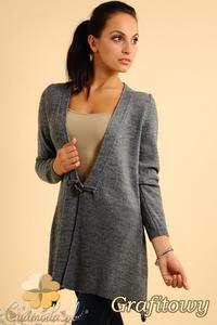 CM0139 Długi sweter sweterek narzutka - grafitowy