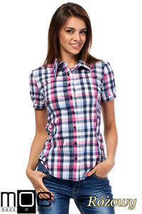 e3f7edecd8f5cf CM1450 Kobieca koszula z krótkim rękawem w kratę - różowa - 2832074824