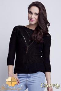 CM1461 Elegancki sweter z modnym wzorem - czarny - 2832074868