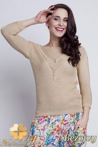 CM1461 Elegancki sweter z modnym wzorem - beżowy - 2832074869
