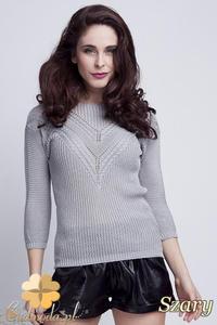 CM1461 Elegancki sweter z modnym wzorem - szary - 2832074871
