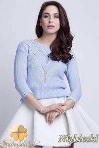 CM1461 Elegancki sweter z modnym wzorem - niebieski - 2832074872