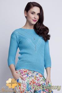 CM1461 Elegancki sweter z modnym wzorem - turkusowy - 2832074873