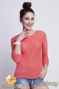 CM1461 Elegancki sweter z modnym wzorem - łososiowy - 2832074874