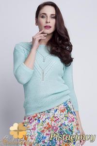 CM1461 Elegancki sweter z modnym wzorem - pistacjowy - 2832074875