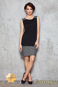 CM1470 Dopasowana sukienka mini w kratę - czarna 2 - 2832074924