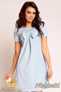 CM1486 Trapezowa sukienka z kokardą na piersi - niebieska