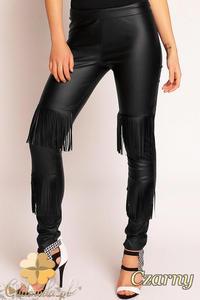 CM1489 Dopasowane wyszczuplające skórzane spodnie damskie - czarne