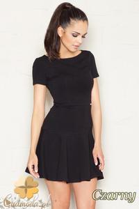 018726e22a CM1524 Taliowana sukienka z lekko rozkloszowanym dołem - czarna - 2832075188