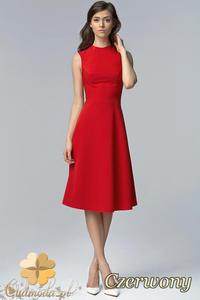 650e524a1e CM1527 Biurowa sukienka midi bez rękawów - czerwona - 2832075209