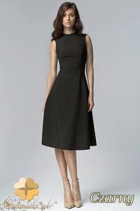 81576c6be7 CM1527 Biurowa sukienka midi bez rękawów - czarna - 2832075210