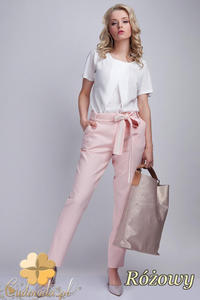 CM1536 Eleganckie spodnie z modną szarfą - różowe - 2832075246