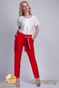 CM1536 Eleganckie spodnie z modną szarfą - czerwone - 2832075247