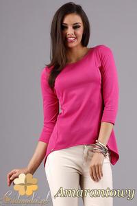 CM1282 Klasyczna bluzka z dekoltem i rękawem 3/4 - amarantowa - promocja - 2832075267