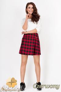 CM1539 Modna spódniczka mini w kratkę - czerwona - 2832075279