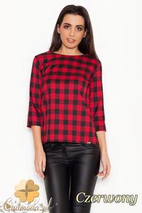 CM1616 Modna bluzka damska w kratę - czerwona - 2832075323
