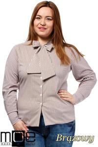 CM1642 Klasyczna koszula damska z długim rękawem - brązowa - 2832075367