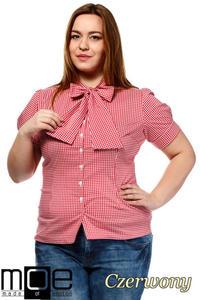 c5b742132899e1 CM1644 Damska koszula w kratę z krótkim rękawem - czerwona - 2832075374