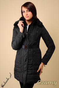 CM0079 Elegancki płaszczyk zimowy z futrzanym kołnierzem czarny